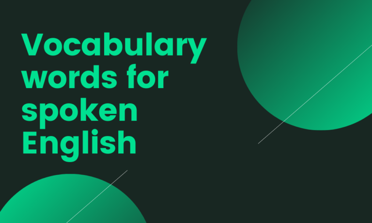 Vocabulary words for spoken English