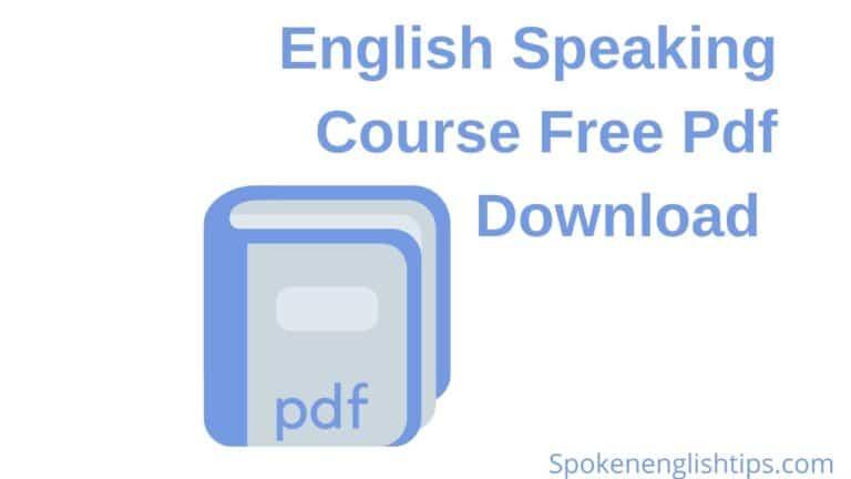 English Speaking Course Free Pdf Download