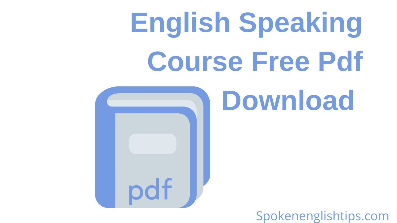 English Speaking Course Free Pdf Download