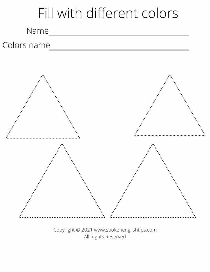 Triangle shape worksheet for preschools